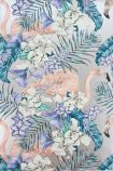 detail image of Matthew Williamson Flamingo Club Wallpaper - Jade/Lavender/Coral W6800-01 - ROLL pink flamingos and blue toned tropical plants on silver background