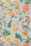 detail image of Matthew Williamson Habanera Wallpaper - French Grey/Orange/Lemon W6803-02 - ROLL tropical pattern on grey background