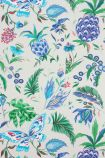 detail image of Matthew Williamson Habanera Wallpaper - Pebble/Ultramarine/Cerulean Blue W6803-03 - ROLL tropical pattern on ivory background