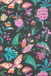 detail image of Matthew Williamson Habanera Wallpaper - Cacao/Fuchsia/Bright Orange W6803-04 - ROLL colourful pineapple, butterflies and plants on black background