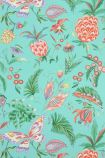 detail image of Matthew Williamson Habanera Wallpaper - Jade/Coral/Lavender W6803-05 - ROLL tropical pattern on turquoise background