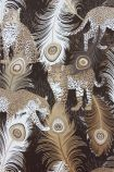 detail image of Matthew Williamson Leopardo Wallpaper - Black/Metallic Antique Gold/Taupe W6805-02 - ROLL gold and white peacock feather repeated pattern on black background