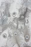 detail image of Matthew Williamson Leopardo Wallpaper - Metallic Silver W6805-03 - ROLL silver peacock feather repeated pattern