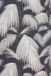 detail image of Matthew Williamson Tropicana Wallpaper - Dark Grey/Neutral/Metallic Bronze W6801-04 - ROLL white and grey palm leaves repeated pattern on dark background