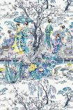 detail image of Osborne & Little Japanese Garden Wallpaper - Blue W7024-01 - ROLL blue white and yellow oriental style garden repeated pattern