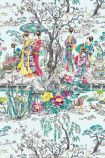 detail image of Osborne & Little Japanese Garden Wallpaper - Teal W7024-02 - ROLL white red yellow and teal oriental style garden repeated pattern