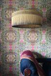 Image of the Small BeauVamp Inca Gold Silk Tiffany Lamp Shade with Straight Tassel Fringe