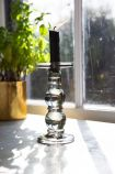 Image of the Tall Grey Smoked Glass Traditional Style Candle Stick Holder