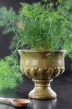 Roman-Style Distressed Green Urn Flower Pot - Large