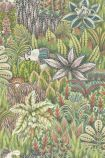 detail image of Cole & Son The Ardmore Collection - Singita Wallpaper - Green 109/7034 - ROLL green toned plants overlapping repeated pattern