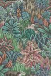 detail image of Cole & Son The Ardmore Collection - Singita Wallpaper - Dark Blue 109/7035 - ROLL green and red toned plants overlapping repeated pattern