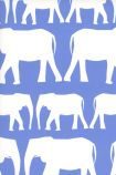 detail image of Nell Wallpaper By Andrew Martin - Denim white silhouettes of elephants on blue background