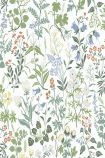 square detail image of BorasTapeter Jubileum Wallpaper - Flora - White 5475 - ROLL red yellow blue and white flowers with green leaves on white background repeated pattern