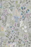 detail image of BorasTapeter Jubileum Wallpaper - Flora - Grey 5476 - ROLL purple yellow blue and white flowers with green leaves on grey background repeated pattern