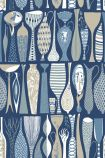 square detail image of BorasTapeter Scandinavian Designers II Wallpaper - Pottery - Blue 1759 - ROLL rows of cool coloured vases on blue background repeated pattern