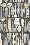 square detail image of BorasTapeter Scandinavian Designers II Wallpaper - Pottery - Black 1758 - ROLL rows of neutral coloured vases on black background repeated pattern
