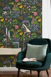 lifestyle image of BorasTapeter Scandinavian Designers II Wallpaper - Rabarber - 2 Colours Available with green armchair with green cushion and cream console table