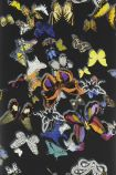 detail image of Christian Lacroix Butterfly Parade Wallpaper - Oscuro PCL008/02 - ROLL coloured butterflies on black background repeated pattern