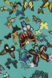 detail image of Christian Lacroix Butterfly Parade Wallpaper - Lagon PCL008/03 - ROLL coloured butterflies on teal background repeated pattern