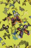 detail image of Christian Lacroix Butterfly Parade Wallpaper - Safran PCL008/04 - ROLL coloured butterflies on green background repeated pattern