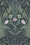 Close-up sample image of the Bluebell Wallpaper in Sage, Mint & Lilac On Charcoal by Cole & Son