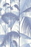 detail image of cole & son contemporary restyled - palm jungle wallpaper - blue on white