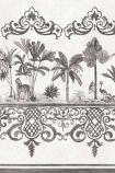 detail image of Cole & Son Folie Collection - Rousseau Border - Charcoal 99/10044 - ROLL grey and white palm tree with oriental style border repeated pattern