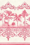 detail image of Cole & Son Folie Collection - Rousseau Border - Rose Pink 99/10046 - ROLL pink and cream palm trees and oriental style border repeated pattern
