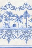 detail image of Cole & Son Folie Collection - Rousseau Border - Cobalt Blue 99/10042 - ROLL palm trees and oriental style border repeated pattern