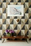 lifestyle image of cole & son geometric II - apex grand wallpaper - 5 colours available