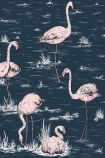 detail image of Cole & Son New Contemporary - Flamingos Wallpaper - Ink & Alabaster Pink 112/11041 - ROLL pink and white flamingos on dark blue background
