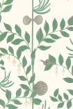 detail image of pattern of Cole & Son Whimsical Collection - Secret Garden Wallpaper - Dark Green 103/9030 - ROLL green leaves and branches and grey shells on pale background