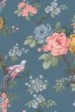 detail image of the Dawn Chorus Ink Blue Wallpaper by Pearl Lowe ink and blue toned roses with green leaves on blue background