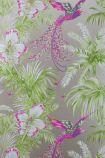 detail image of Matthew Williamson Birds of Paradise Wallpaper - Kiwi W6655-03 - SAMPLE pink  birds and green plants on grey background