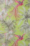 detail image of Matthew Williamson Birds of Paradise Wallpaper - Lemon W6655-01 - ROLL pink birds and plants on green background repeated pattern