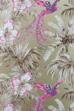 detail image of Matthew Williamson Birds of Paradise Wallpaper - Purple W6655-02 - ROLL pink and purple birds with nude plants on gold background