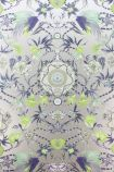 detail image of Matthew Williamson Menagerie Wallpaper - Lime & Purple W6950-04 - ROLL green purple and silver floral kaleidoscope effect repeated pattern