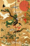 Close-up detail of the standard version of the ByoBu wallpaper oriental style birds and plants with orange suns on gold background