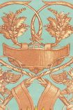 Close-up detail image of the Fontainebleau Wallpaper in Powder copper toned pattern on turquoise blue background