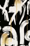 Close-up detail image of Gesterual Abstraction Anthracite wallpaper whites ymbols on black background with gold paint splashes on it