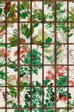 Close-up detail image of the natural version of the Japanese Garden wallpaper oriental style green and pink toned plants on pale background behind dark brown crittal style pattern