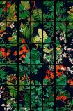 Close-up detail image of Japanese Garden wallpaper in anthracite oriental style green and red toned planyts on black background behind black crittal style pattern