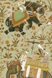 detail image of Mind The Gap The Mysterious Traveler - Hindustan Wallpaper - WP20255 - ROLL oriental style men riding elephants with flowers on beige green background repeated pattern