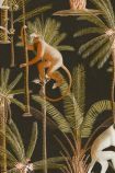 detail image of Mind The Gap The Rediscovered Paradise - Barbados Wallpaper - Anthracite WP20160 - ROLL brown and orange toned monkeys on palm trees with green leaves and brown trunks on black background repeated pattern