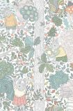 detail image of BorasTapeter Scandinavian Designers Mini Collection Wallpaper - Charlie - White 6251 - ROLL pastel woodland creatures and plants on white background repeated pattern