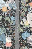 detail image of BorasTapeter Scandinavian Designers Mini Collection Wallpaper - Charlie 6252 - Grey - ROLL pastel woodland creatures and plants on black background repeated pattern