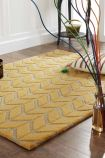 Lifestyle image of the Chevron Rug in Sunflower Yellow