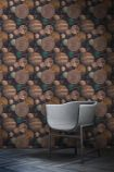 lifestyle image of mind the gap the universe wallpaper with grey armchair and dark wooden floor