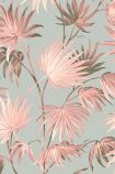 detail image for the Va Va Frome Blush Eau De Nil Wallpaper by Pearl Lowe pink toned tropical leaves on pale blue background