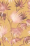 Sample image of the Va Va Frome Sunset Wallpaper by Pearl Lowe pink toned tropical leaves on burnt orange background